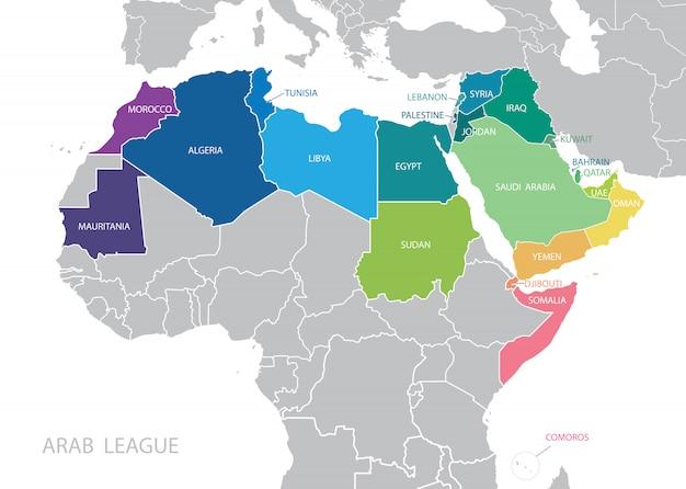 Цветной карта лиги арабских государств