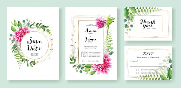 ピンクのダリアの花の結婚式の招待状