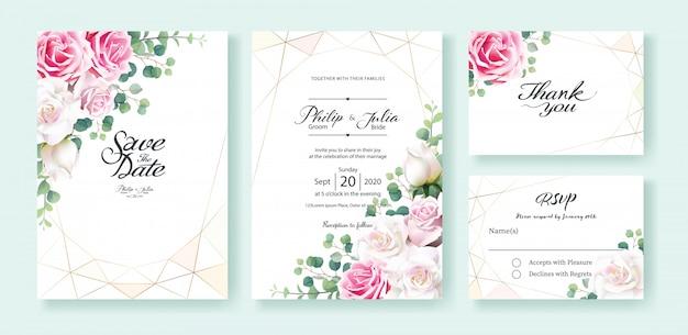 白とピンクのバラの花の結婚式の招待状