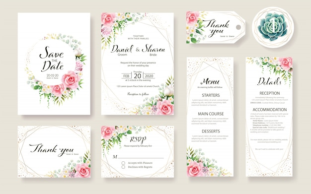 花の結婚式の招待状カードのテンプレートのセットです。バラの花、緑の植物。