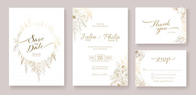 結婚式の招待カードテンプレートのセット。金の花。