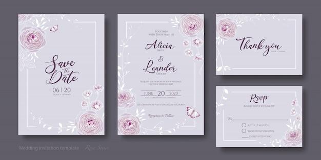 花の結婚式の招待カードのセット