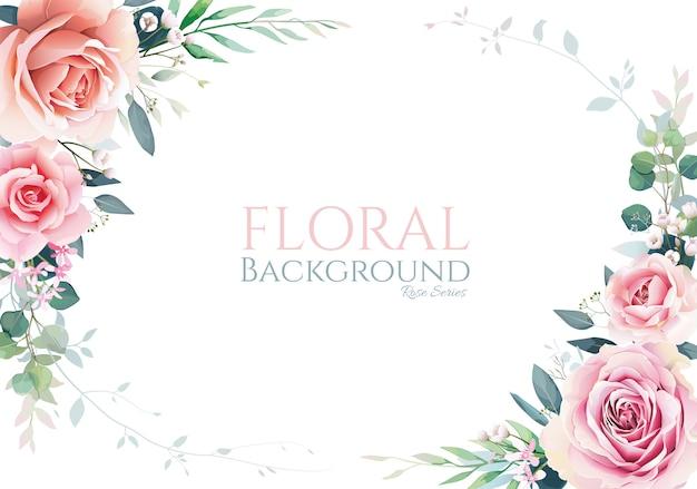 ピンクの牡丹の花と緑のフレーム、白い背景の境界線を持つ白いバラ。
