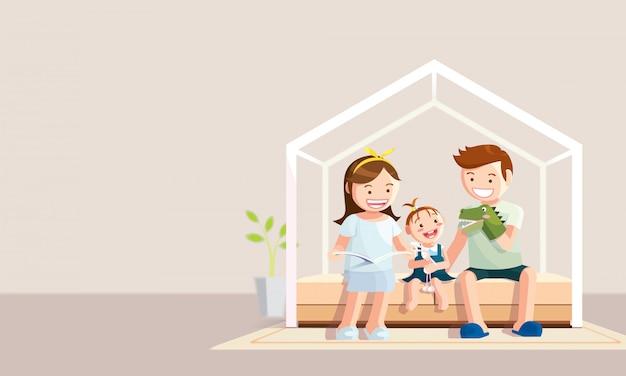 コロナウイルス検疫中に家にいる幸せな家族。