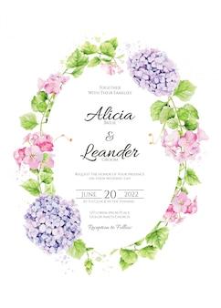 アジサイとピンクの花の結婚式の招待カード。水彩風。