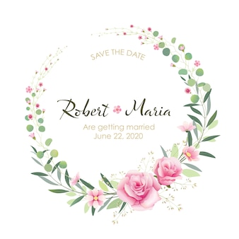 美しいピンクの花結婚式招待状