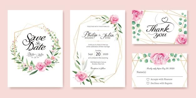 ピンクローズ結婚式招待状。