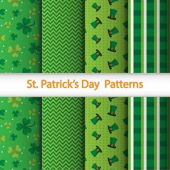 Бесшовный узор с элементами шотландской ткани, точек и святого патрика