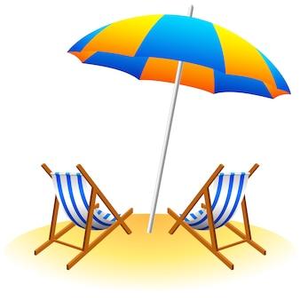 Пляжный зонтик и шезлонги