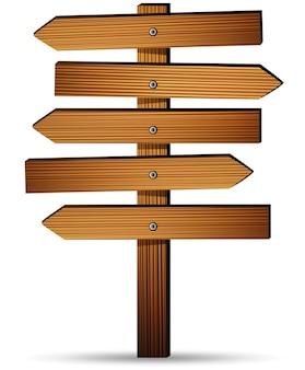 白い背景に木製の看板