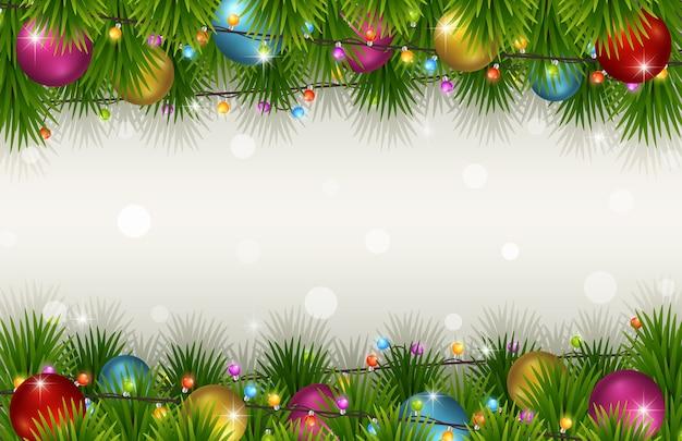 モミの木の枝とクリスマスの背景