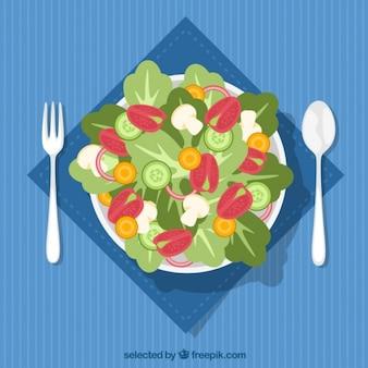 サラダの皿のトップビュー