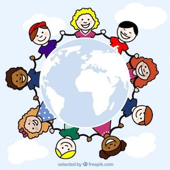 世界中のスケッチ子供たち