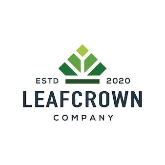 クラウンとリーフのロゴデザインベクトル。