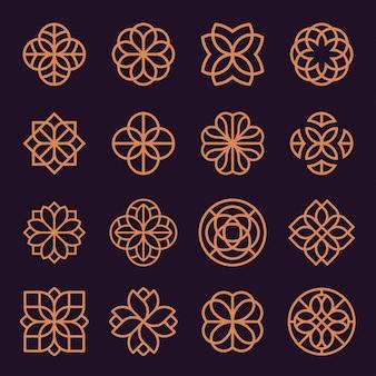 Орнамент логотип и значок дизайн набора.