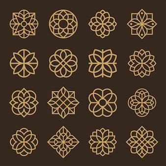 飾りのロゴとアイコンデザインセット。