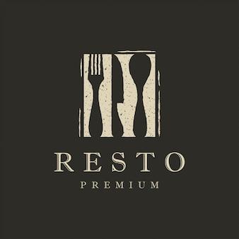 Плоский ресторанный логотип