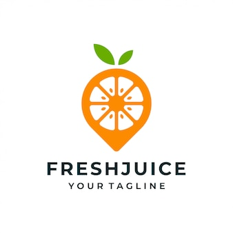 オレンジ色の果物ピンのロゴとアイコン。