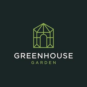 温室のロゴデザインコンセプト。普遍的な温室のロゴ。