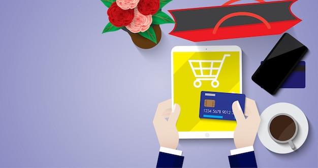 クレジットカードによるタブレットでのオンラインショッピング販売