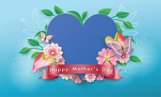 美しいハートバナー幸せな母の日グリーティングカード