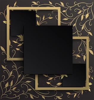 黒のグラデーションの背景を持つ黄金のツタパターンに黒と金のフレームの背景