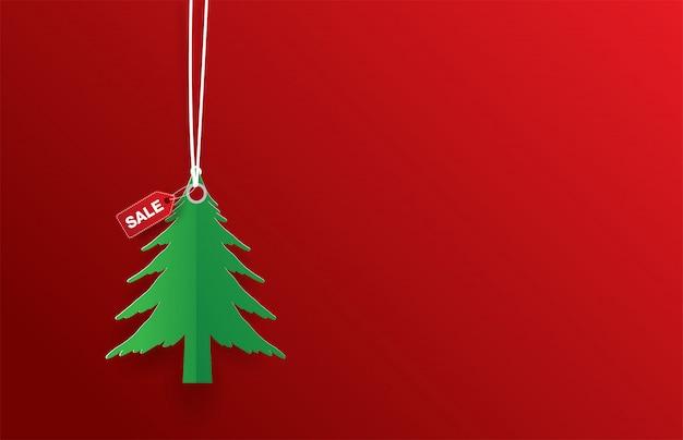 Зеленая этикетка елки продажа на красный