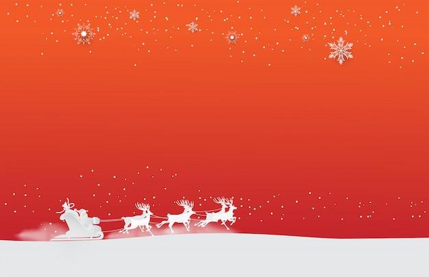 サンタクロースは、白い雪片赤背景と雪のトナカイに乗る