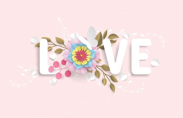 愛の語彙は、ピンクの背景に設定された紙のカットのように見える花と蝶で構成されています
