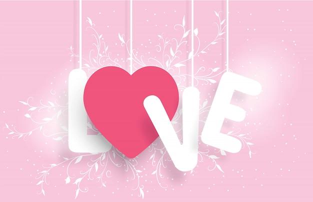 Влюбленные медведи держат руки в форме розового сердца, которое гласит: любовь, день святого валентина, свадьба