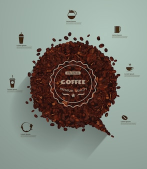 空の泡のあるコーヒー豆
