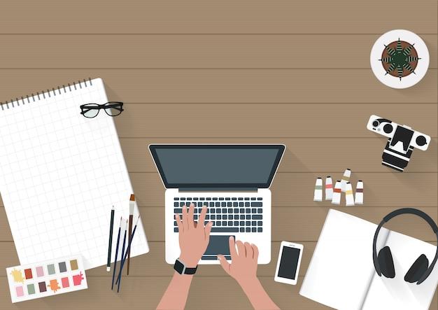 ベクトル、女、働く、ノートパソコン