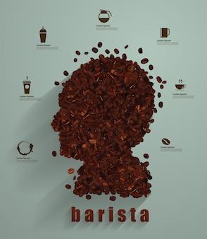 Концепция кофейной головки как символ бариста или значка кафе