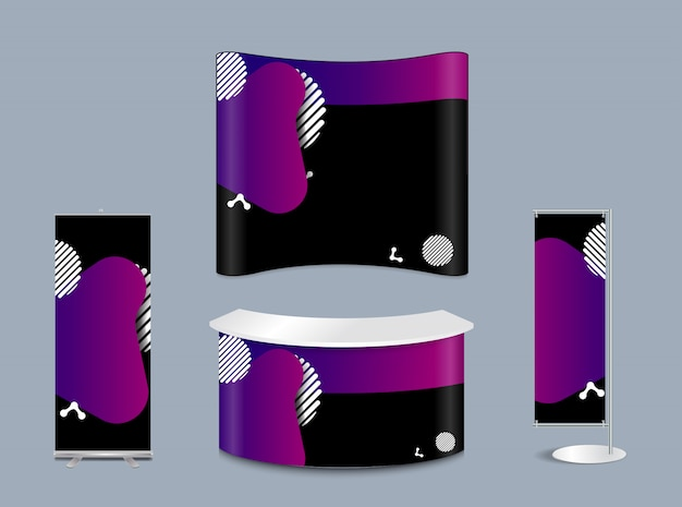Геометрическая форма жидкости разных цветов с макетом выставочного стенда