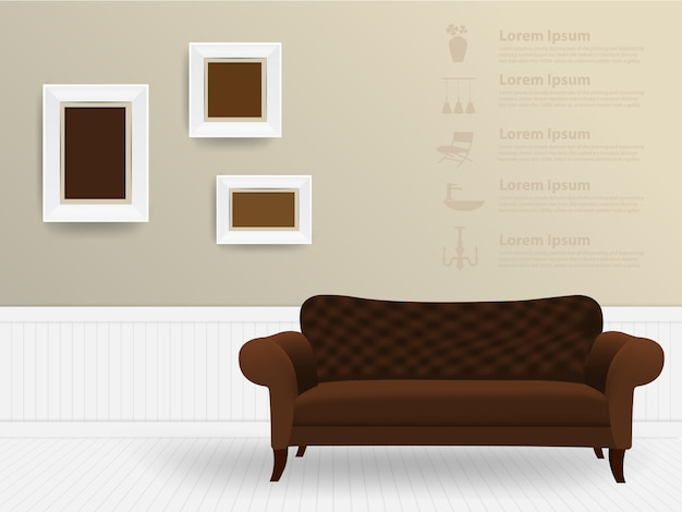 Вектор интерьер комнаты