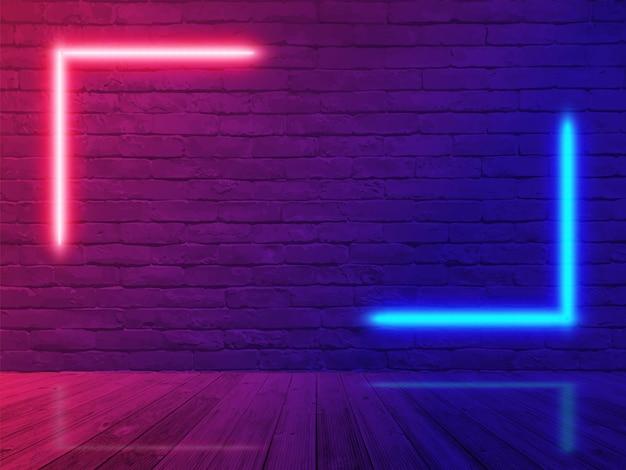 ネオンの光のレンガの壁の部屋