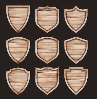 木製シールド現実的な木製テクスチャ記号