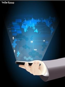 ベクトルの手は、仮想ネットワークプロセスでスマートフォンを保持