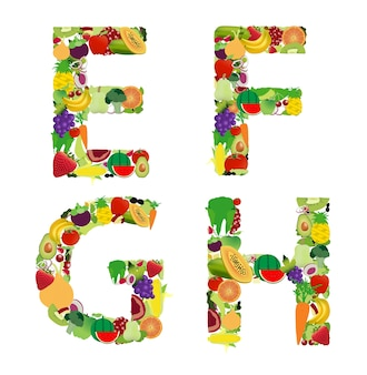 ベクトル図フルーツと野菜のアルファベットの文字