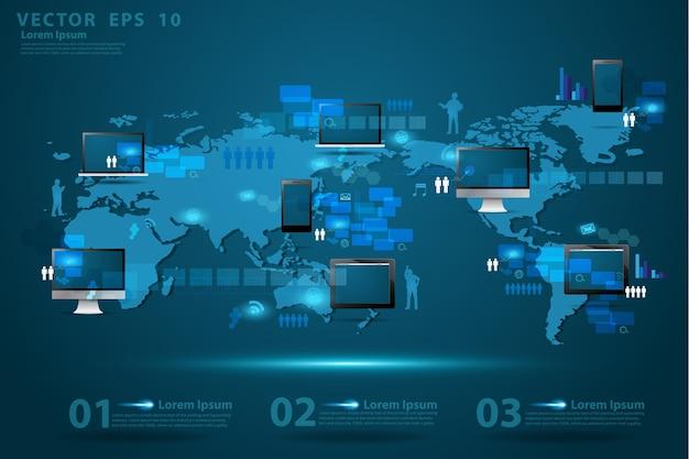 グローバルビジネステクノロジーのコンセプト創造的なネットワーク