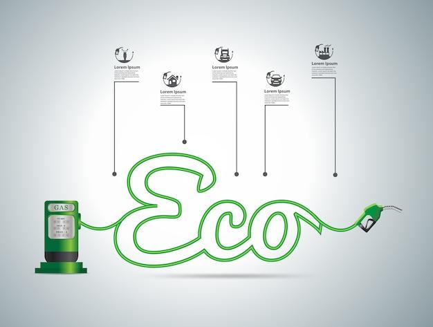 エコ燃料コンセプト、イラストモダンデザインテンプレート