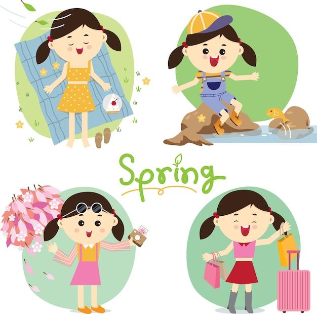 春の活動のセット。
