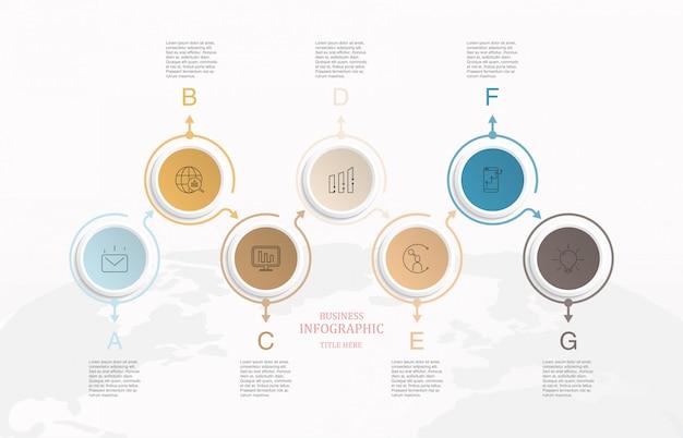 サークルボックステキストインフォグラフィックと世界地図の背景。