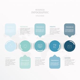 青い丸インフォグラフィックと現在のビジネスコンセプトのアイコン。
