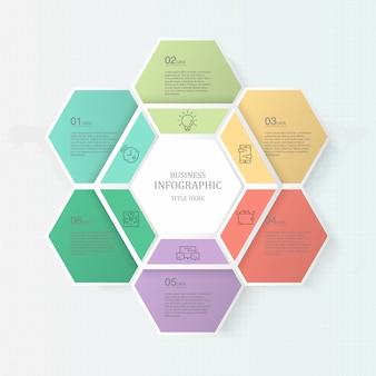 Инфографики шаблон шесть элемент для настоящей бизнес-концепции.