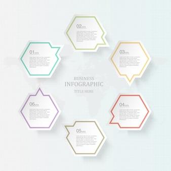Шесть процесса инфографика и иконки для настоящей бизнес-концепции.