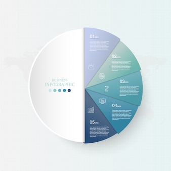 ビジネスコンセプトの青い色と円のインフォグラフィック。