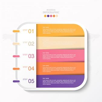 テキストインフォグラフィックとアイコンのカラフルなボックス