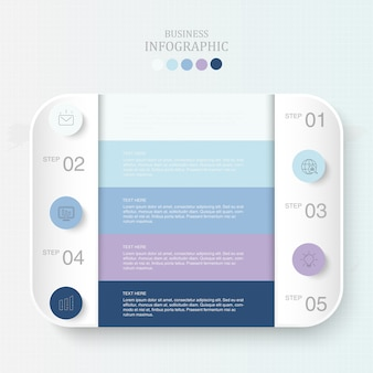 テキストインフォグラフィックとアイコンの青いカラーボックス
