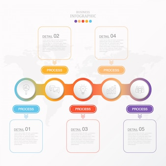 カラフルなインフォグラフィックと現在のビジネスのアイコン。